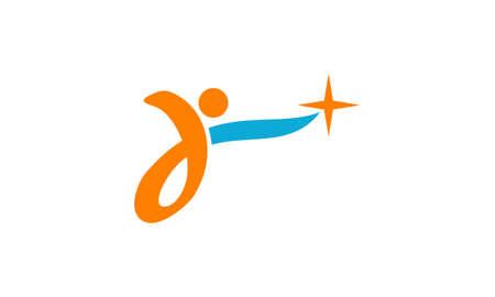 Reach Star Success illustration good for logo on a plain background.