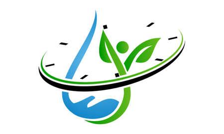 Water Hand Leaf Watch logo Vector illustration.