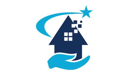 Succes van Home-logo Vector illustratie. Logo