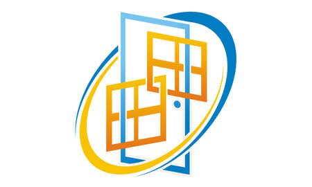 ドアとWindowsのロゴベクトルイラスト。