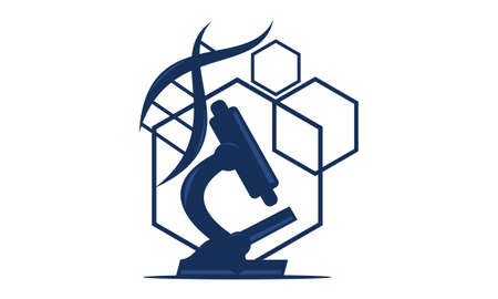 Illustrazione del boccetta del microscopio e del logo del DNA. Logo