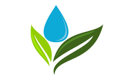 Green leaf and water drop logo Vector illustration.