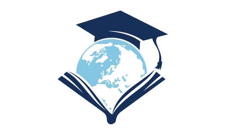 Weltbildungs-Logo-Design-Schablonen-Vektor