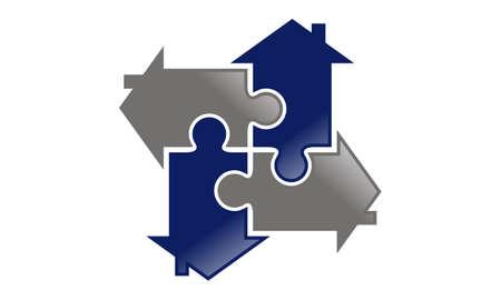 Jigsaw Logo domu szablon projektu wektor