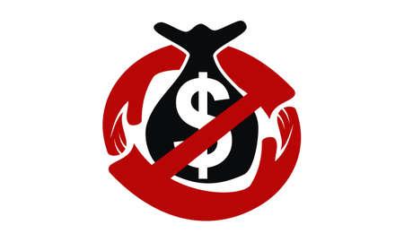 Stop Corruption Logo Design Template Vector Illustration