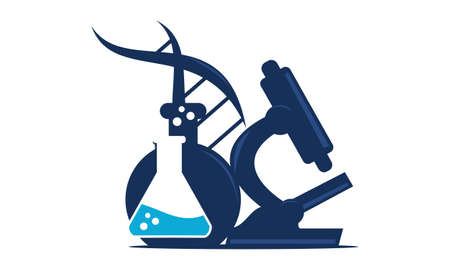 Microscope flask and DNA logo Vector illustration.