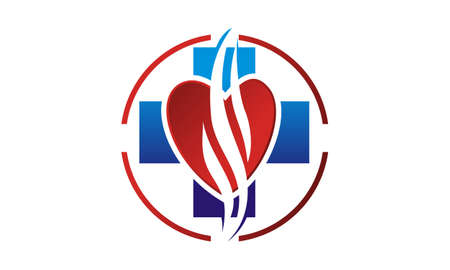 Blue cross with heart icon. Healthcare for Smoker Illustration