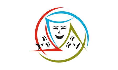 Theatrical Mask Logo Design Template Vector.