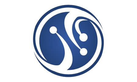 Technology Connection Logo Design Template Vector.