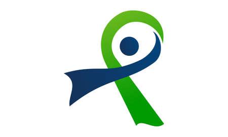 Ribbon Healthy Logo Design Template Vector