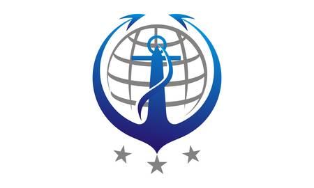 Anchor Globe Logo Design Template Vector