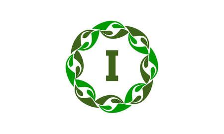 Green Project Solution Center Initial I logo vector illustration. Illustration