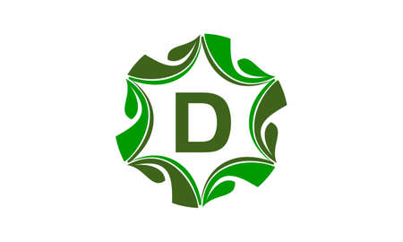 Green Project Solution Center Initial D icon logo vector illustration. Ilustracja