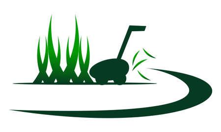 Lawn Mower Service icon logo vector illustration.  イラスト・ベクター素材