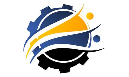 Industrial Gear Solution Logo Design Template Vector