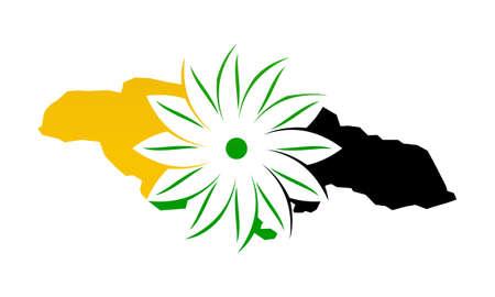 Jamaica Flower Logo Design Template Vector Illustration