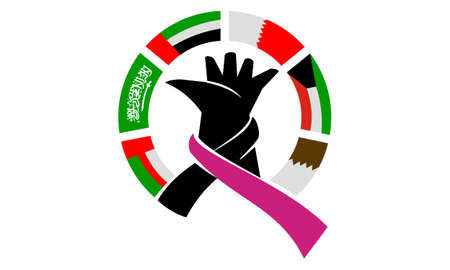Hand with ribbon and flags symbolizing foundation, Charity, friendship, support