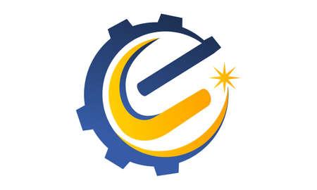Gear Solution Design Template Vector Illustration