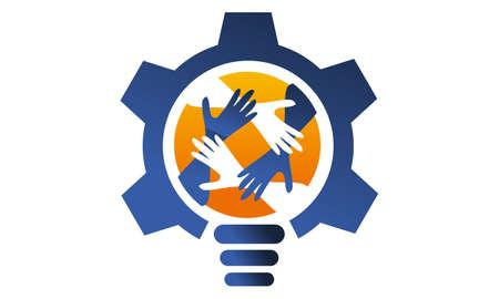 Gear Solution Logo Design Template Vector Çizim