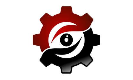 Industry Vision Logo Design Template Vector Çizim