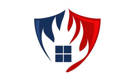 火盾ロゴ デザイン テンプレート ベクトル