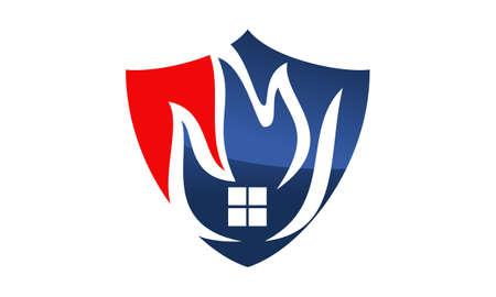 Fire Shield Logo Design Template Vector Illustration