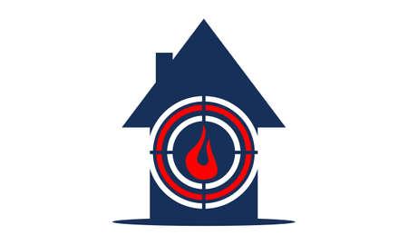 火アイコンから家の保護  イラスト・ベクター素材