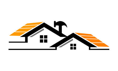 Restorations and constructions icon on white background, vector illustration. Illustration