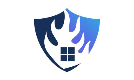 Fire shield icon design template, vector illustration.