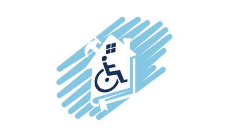 Home Disability Renovation icon logo vector illustration. Illustration
