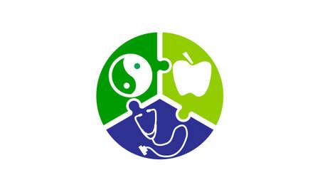 Healthy Care Synergy icon logo vector illustration. Illustration