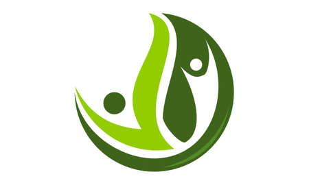 Health Life Organic icon logo vector illustration.