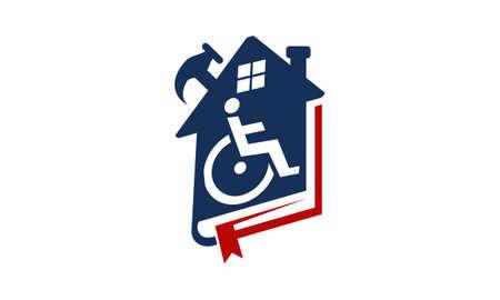 Invalidité à domicile Rénovation icône logo vector illustration. Logo