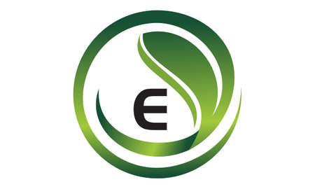 Leaf Initial E Logo Design Template Vector Vettoriali
