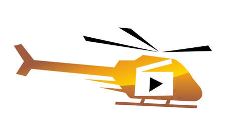 Helicopter Motion Aerial Video Production icon logo vector illustration.