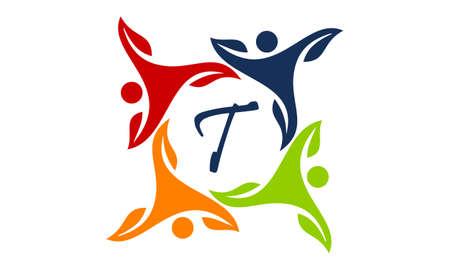 Leaf People Health Together Letter T