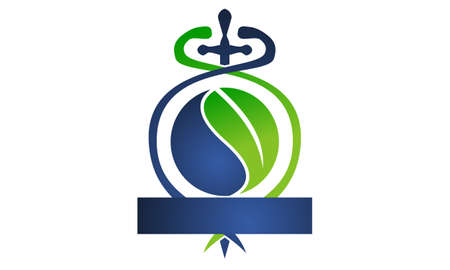 Sword Caduceus Leaf Emblem Blank Template