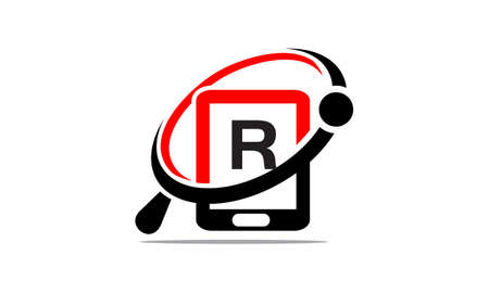 Hand phone Search initial R Illustration