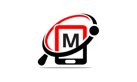 Hand phone Search initial M Vector illustration.