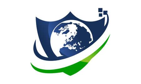 Global Security Design Template Vector
