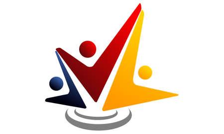 Global Leadership Teamwork Solutions logo icon vector illustration. Vettoriali
