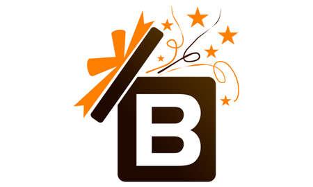 Gift Box Ribbon Letter B logo icon vector illustration.