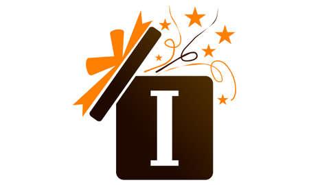 Boîte de cadeau ruban lettre I logo icône illustration vectorielle.