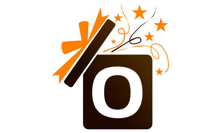 Gift Box Ribbon Letter O logo icon vector illustration.