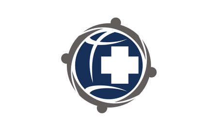 Global Health Care Community logo icon vector illustration.