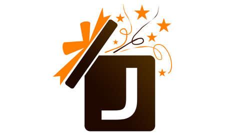 Gift Box Ribbon Letter J logo icon vector illustration. Illusztráció