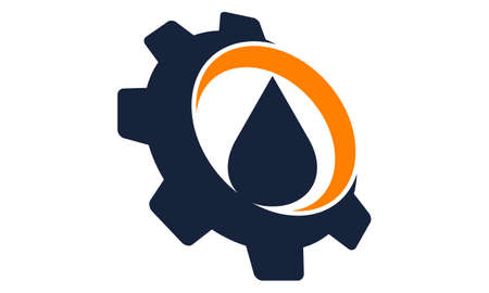 Drop Oil water with gear logo icon vector illustration.