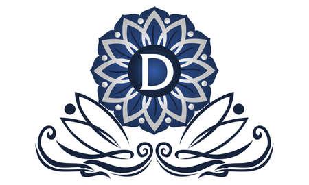Flower Elegant icon Initial D icon logo Vector illustration.