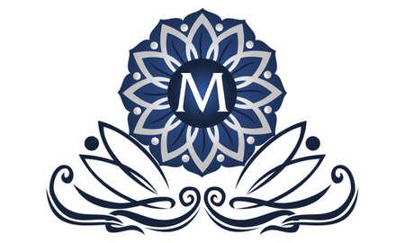 Flower Elegant icon Initial M icon logo Vector illustration.