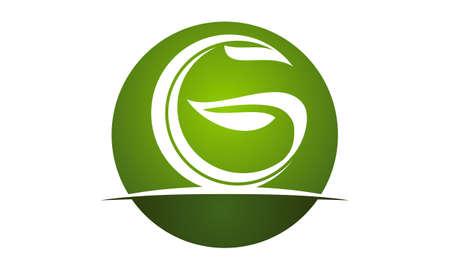 Letter G green eco icon logo Vector illustration.